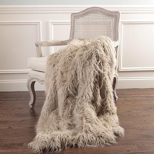 Faux Mongolian Lamb Fur Taupe Throw