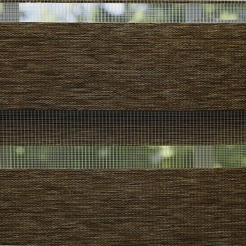 Rose Street Brown Wood Look 29 x 64 In. Duo Window Rolling Shade