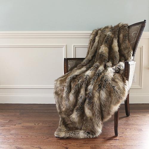 Wild Mannered Long Hair Faux Brown Fur Throw Blanket