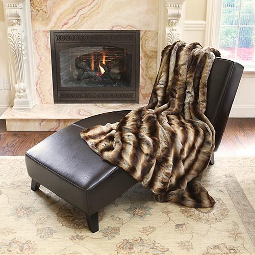 Rose Street Wild Mannered Long Hair Faux Brown Fur Throw Blanket