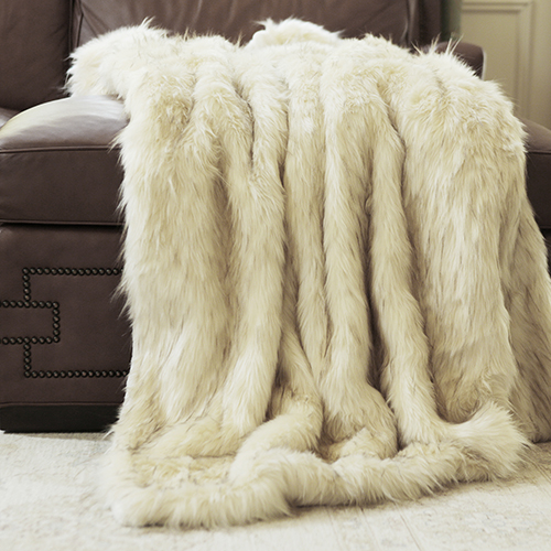 Long Hair Faux Ivory Fur 58 x 60 In. Throw Blanket