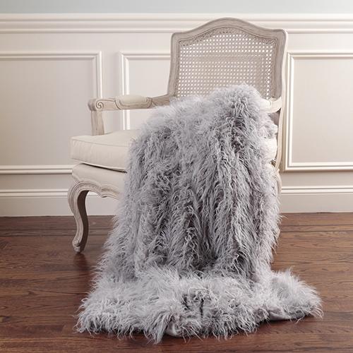 Faux Mongolian Grey Fur Throw