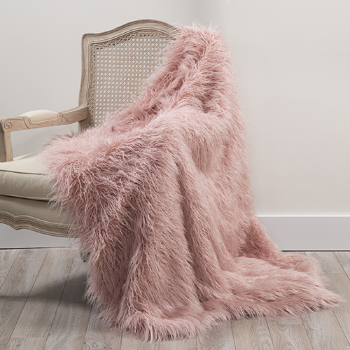 Faux Mongolian Lamb Fur Pink Throw
