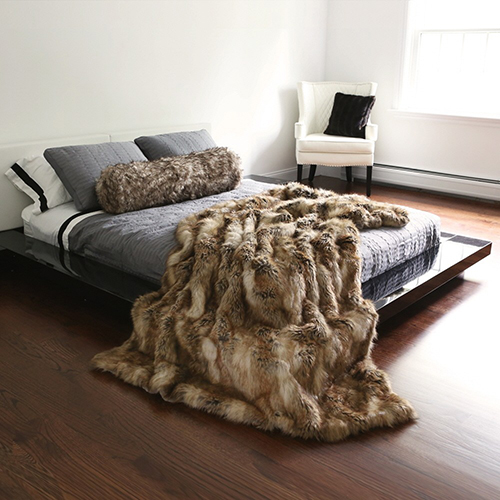 Long Hair Faux Amber Brown Fur 58 x 84 In. Throw Blanket
