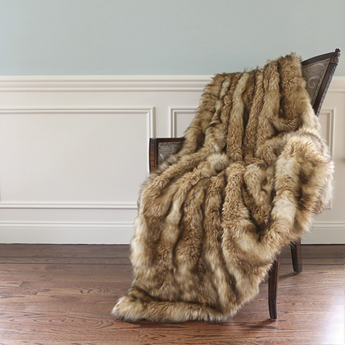 Long Hair Faux Platinum Brown Fur 58 x 84 In. Throw Blanket