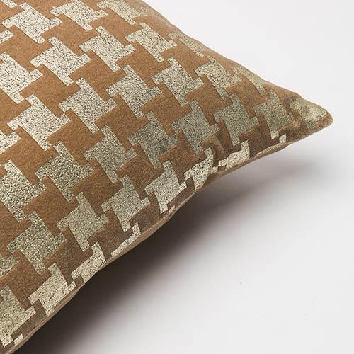 Metallic Taupe Houndstooth Velvet 18 In. Pillow