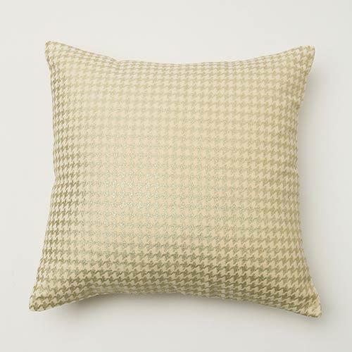 Rose Street Small Metallic Cream Houndstooth Velvet 18 In. Pillow Cover