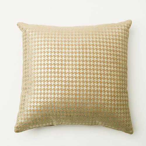 Small Metallic Taupe Houndstooth Velvet 18 In. Pillow Cover