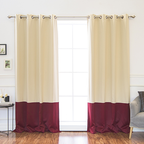 Rose Street Beige And Burgundy 84 X 52 In Colorblock Thermal Insulated Blackout Curtains