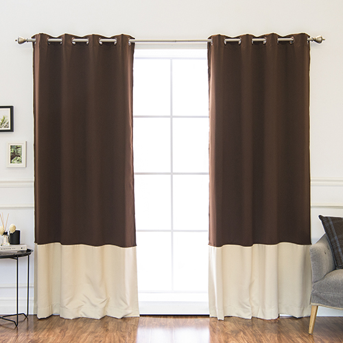 Rose Street Chocolate and Beige 84 x 52 In. Colorblock Thermal Insulated Blackout Curtains