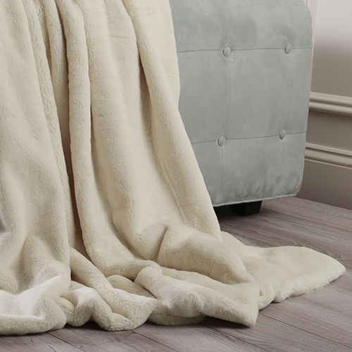 Luxe Faux Cream Fur Throw