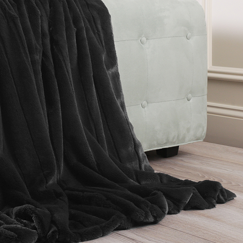 Luxe Faux Black Mink Throw