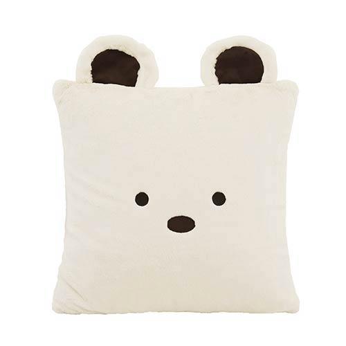 Faux Fur Cream Bear Plush 18 In. Animal Pillow