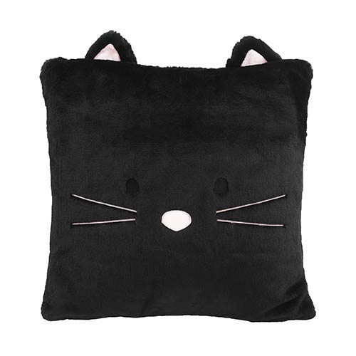 Faux Fur Black Cat Plush 18 In. Animal Pillow