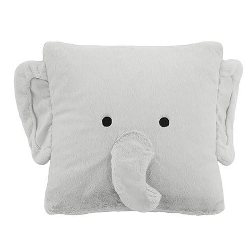 Faux Fur Grey Elephant Plush 18 In. 18 In. Animal Pillow