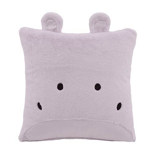Faux Fur Lavender Hippo Plush 18 In. Animal Pillow