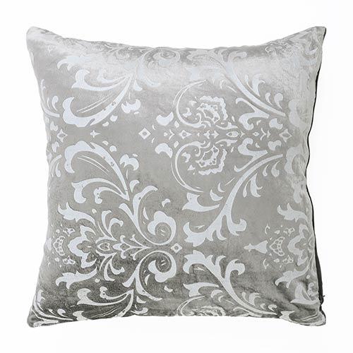 Damask Grey Velvet 18 In. Pillow