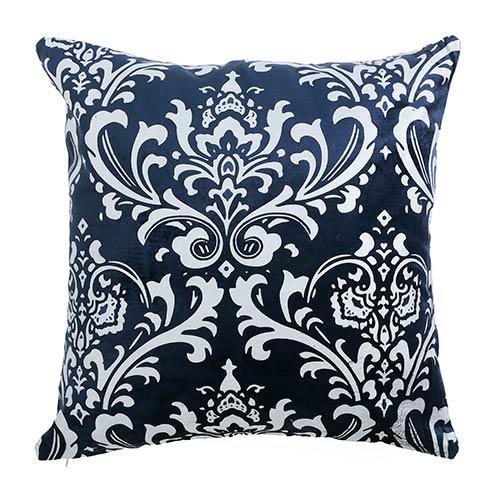 Rose Street Damask Navy Velvet 18 In. Pillow