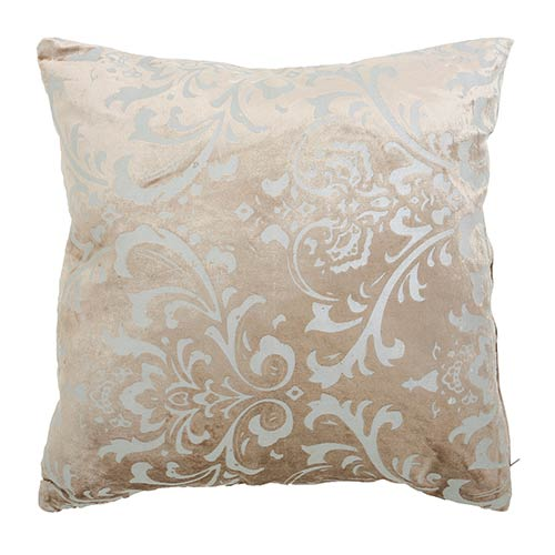 Damask Taupe Velvet 18 In. Pillow
