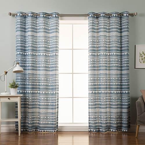 Rose Street Blue Geometric 84 x 52 In. Curtain Panel