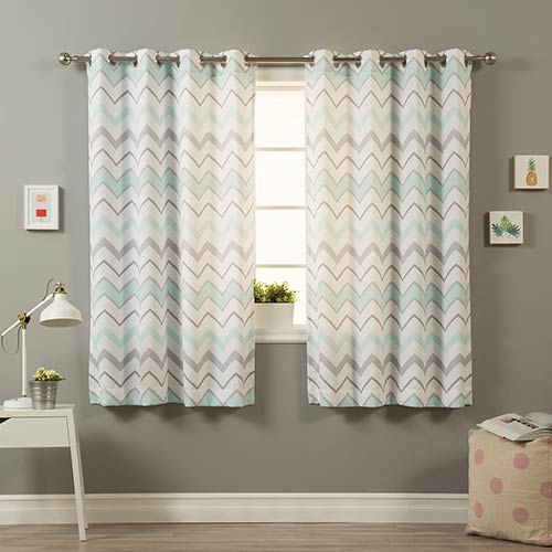 Rose Street Mint Wave 52 x 84 In. Curtain Panel