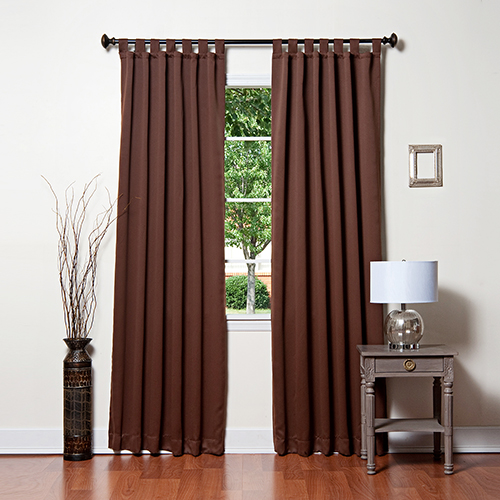 Chocolate 96 x 52 In. Solid Tap Top Blackout Curtain Panels