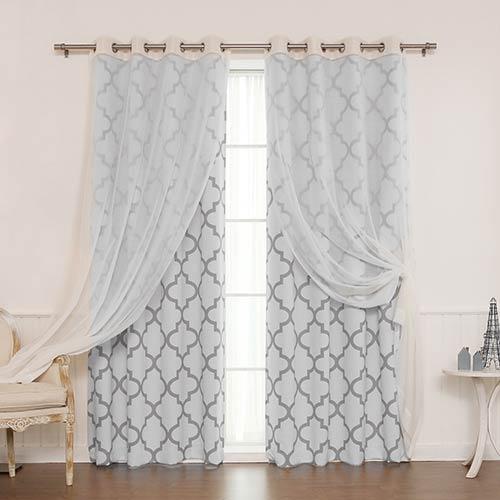 Grey Moroccan 84 x 52 In. Room Darkening Curtain Panel