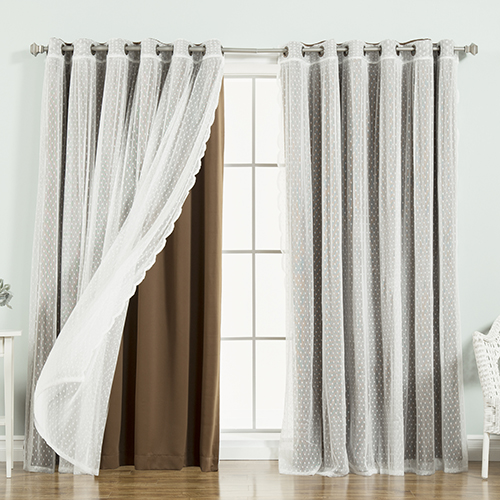 Rose Street Chocolate Wide Dot Lace 80 x 84 In. Blackout Window Treatments, Set of Two