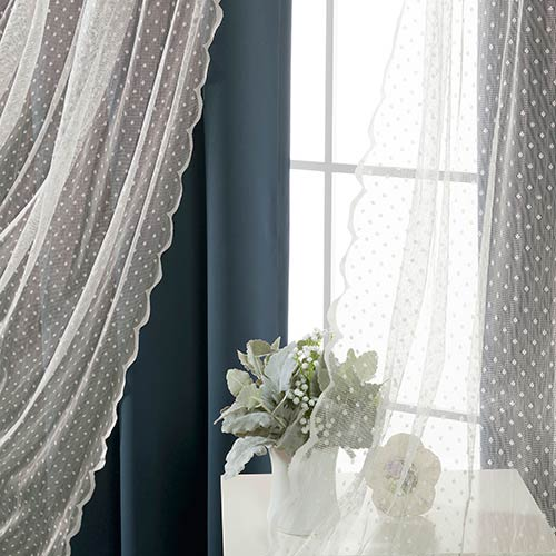 Navy Wide Dot Lace 80 x 84 In. Blackout Window Treatments, Set of Two