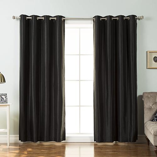 Black Faux Silk 52 x 96 In. Blackout Curtain Panel