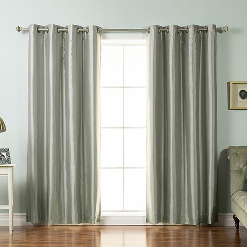 Rose Street Grey Faux Silk 96 x 52 In. Blackout Curtain Panel