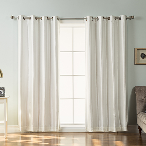 Rose Street Ivory Faux Silk 96 x 52 In. Blackout Curtain Panel