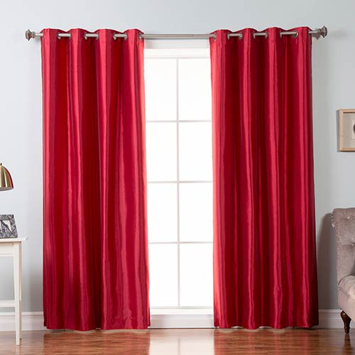 Red Faux Silk 96 x 52 In. Blackout Curtain Panel