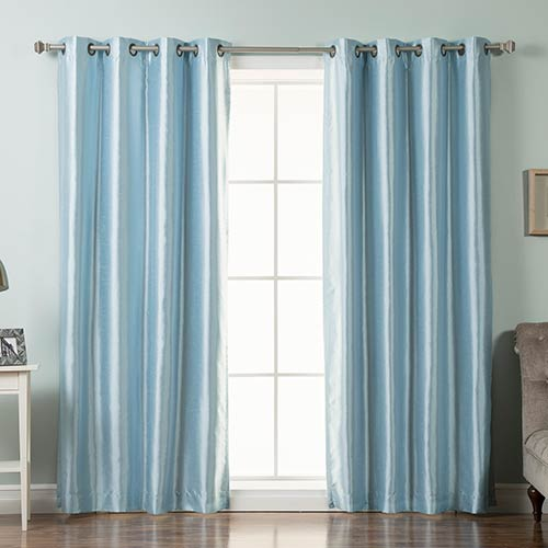 Sky Blue Faux Silk 52 x 96 In. Blackout Curtain Panel