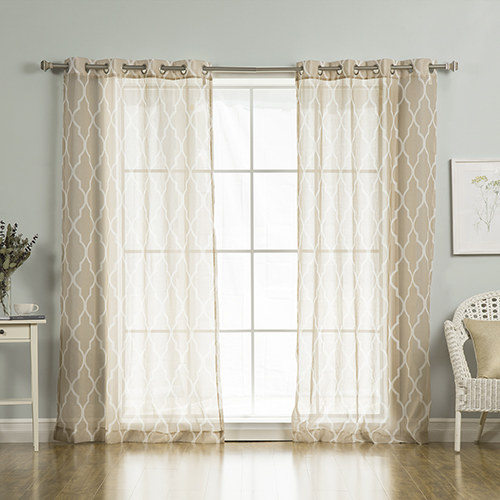 Rose Street Taupe Moroccan 52 x 84 In. Sheer Curtain Panel