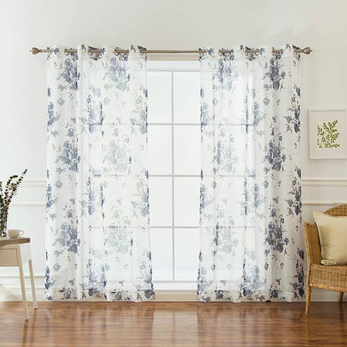 Rose Street Navy Rose 52 x 84 In. Faux Linder Curtain Panel