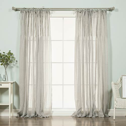 Rose Street Grey Pleated Faux Linen 84 x 52 In. Curtain Panel