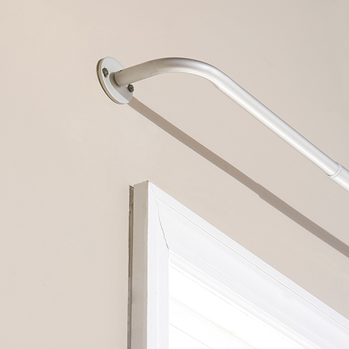 Rose Street Wraparound 120 In. Silver Curtain Rod
