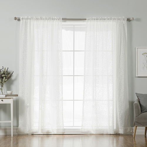 Rose Street White 84 x 52 In. Burnout Sheer Curtain Panel