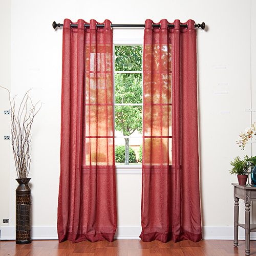 Rose Street Burgundy Crushed Voile 108 x 52 In. Curtain Panel