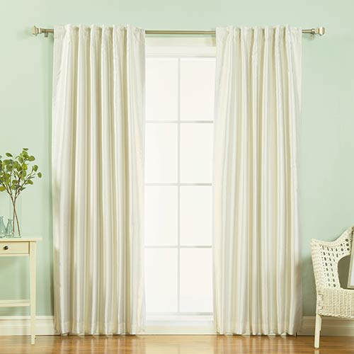 Rose Street Ivory Candy Stripe 84 x 52 In. Faux Silk Blackout Curtain Panel