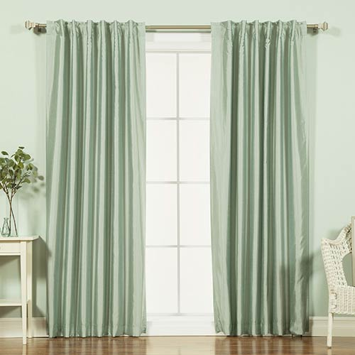 Rose Street Sage Candy Stripe 84 x 52 In. Faux Silk Blackout Curtain Panel