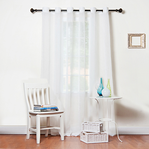 Rose Street White Crushed Voile 80 x 96 In. Wide Width Curtain Panel