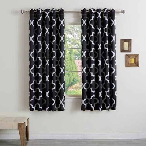 Rose Street Black Moroccan 52 x 63 In. Curtain Panel