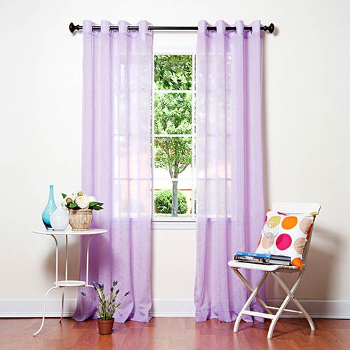 Rose Street Purple Crushed Voile 52 x 84 In. Curtain Panel