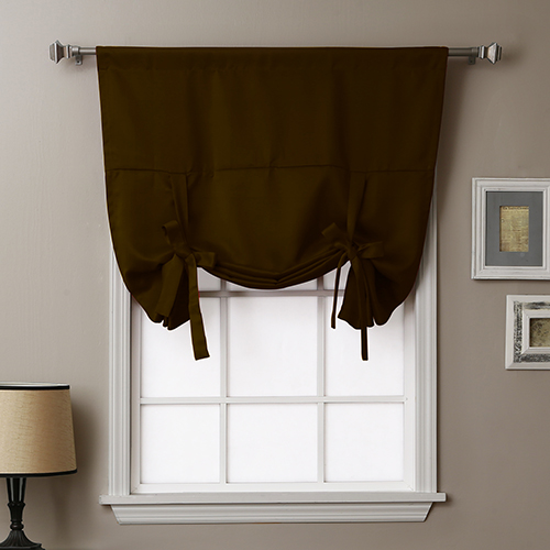 Chocolate 63 In. x 42 In. Thermal Insulated Blackout Tie-up Window Shade