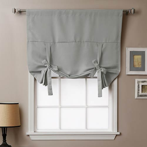 Grey 63 In. x 42 In. Thermal Insulated Blackout Tie-up Window Shade
