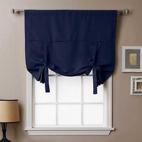 Navy 63 In. x 42 In. Thermal Insulated Blackout Tie-up Window Shade
