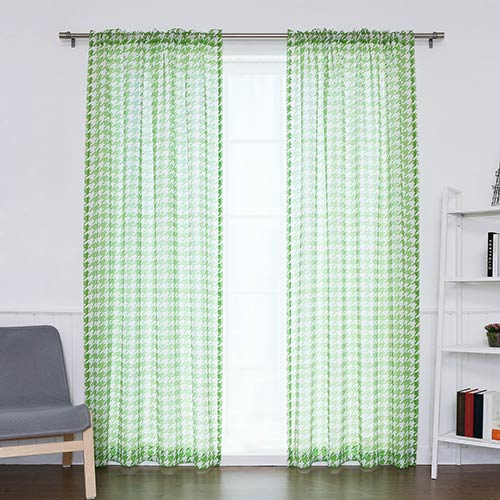 Rose Street Green Houndstooth 84 x 52 In. Curtain Panel