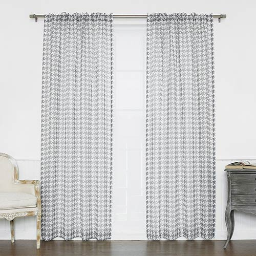 Grey Houndstooth 84 x 52 In. Curtain Panel